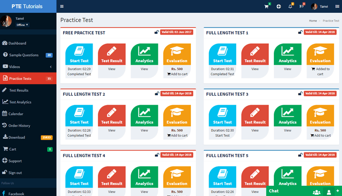 PTE DashBoard Practice Tests